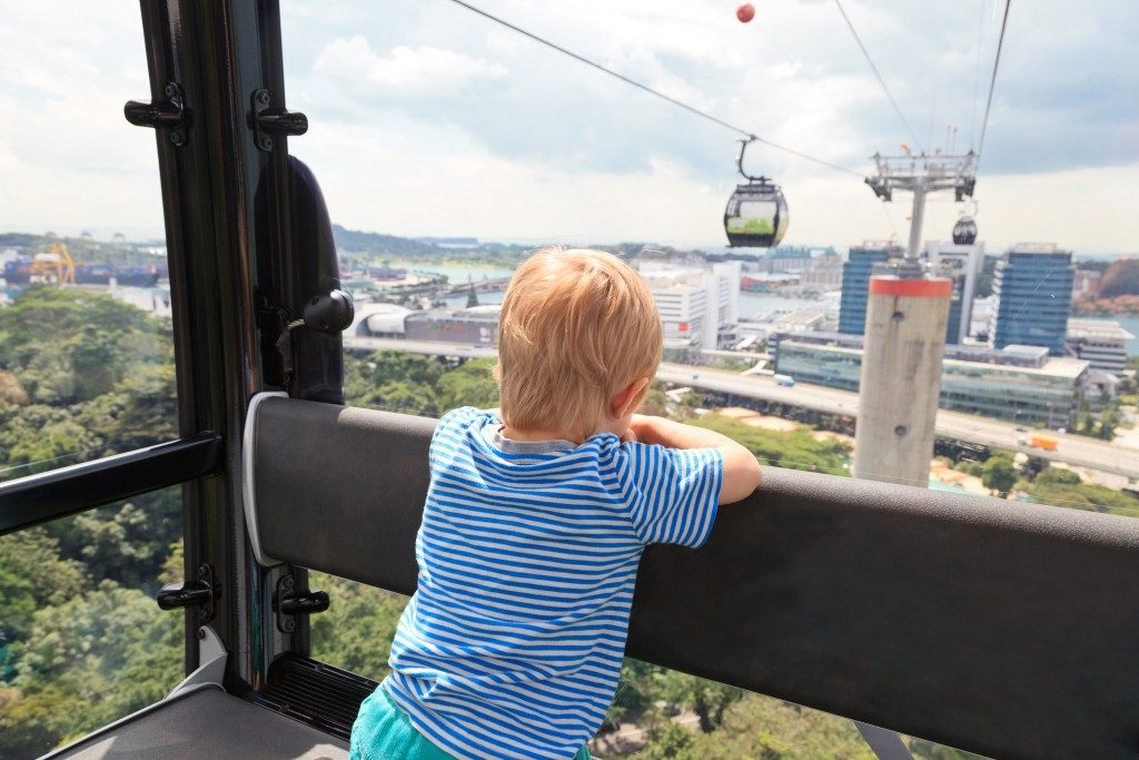 Boy in a cable car in Sentosa