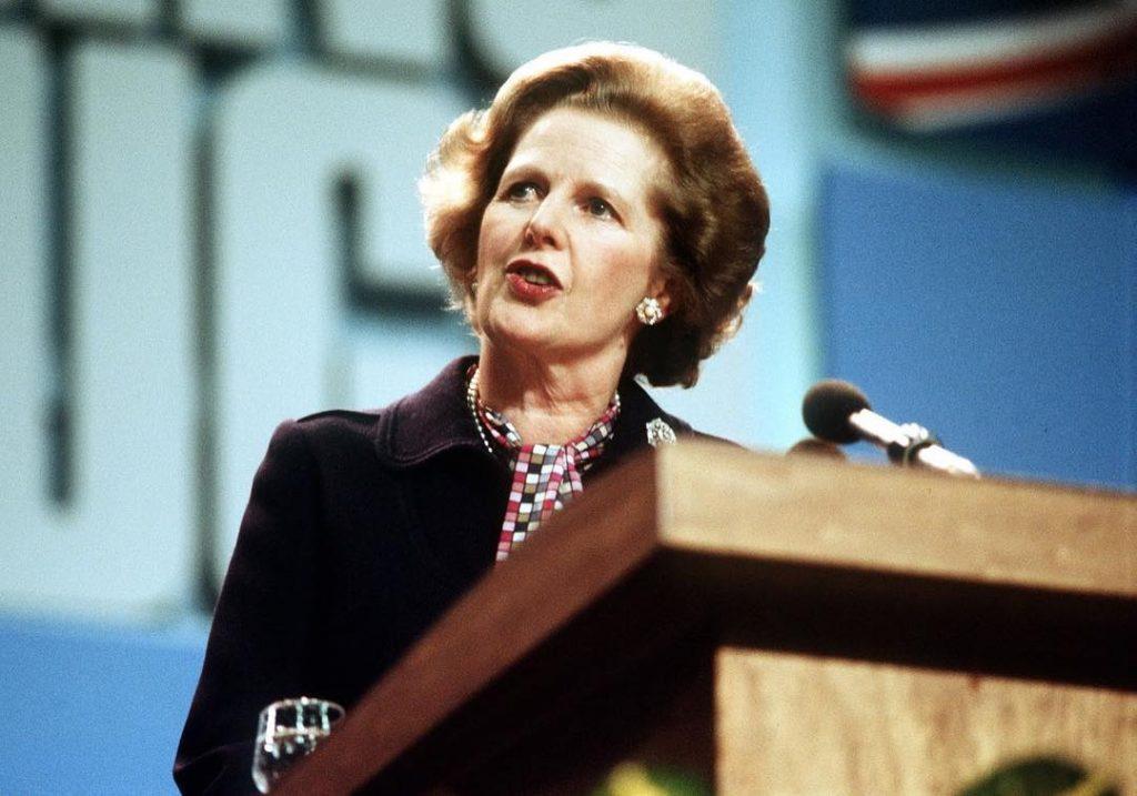 young Margaret Thatcher giving a speech